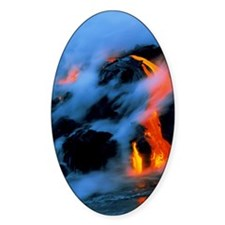 Molten pahoehoe lava flowing into t Decal
