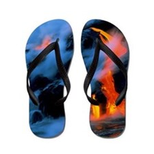 Molten pahoehoe lava flowing into the o Flip Flops