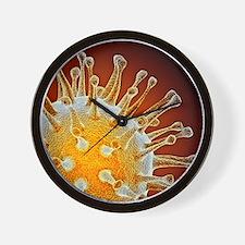 Avian influenza virus, computer artwork Wall Clock