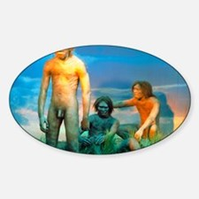 Models of Homo erectus men Sticker (Oval)