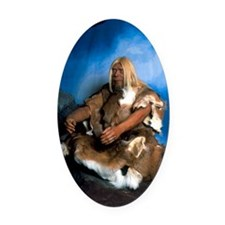 Model of a neanderthal man Oval Car Magnet