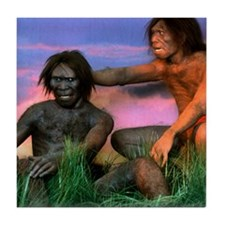 Models of Homo erectus men Tile Coaster