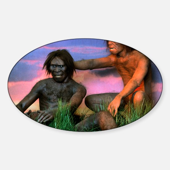Models of Homo erectus men Sticker (Oval)