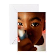 Asthmatic boy Greeting Card