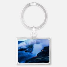 Molten lava flowing into the oc Landscape Keychain