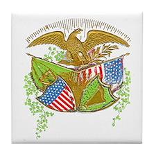 Ireland American Flags Tile Coaster