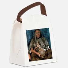 Model of a neanderthal woman hold Canvas Lunch Bag