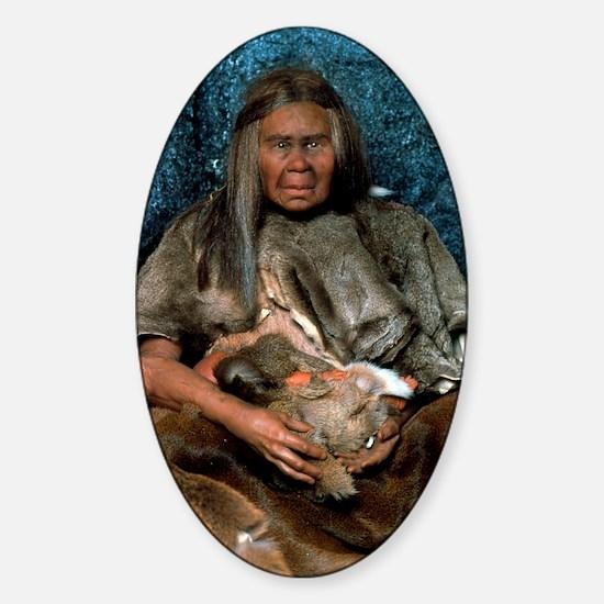 Model of a neanderthal woman holdin Sticker (Oval)