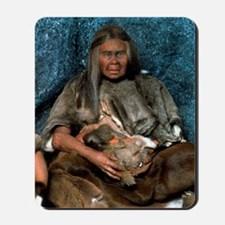 Model of a neanderthal woman holding a b Mousepad