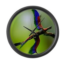 Microraptor dinosaur flying, artw Large Wall Clock