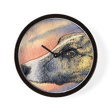 Brindle whippet greyhound dog Wall Clock
