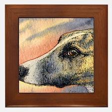 Brindle whippet greyhound dog Framed Tile