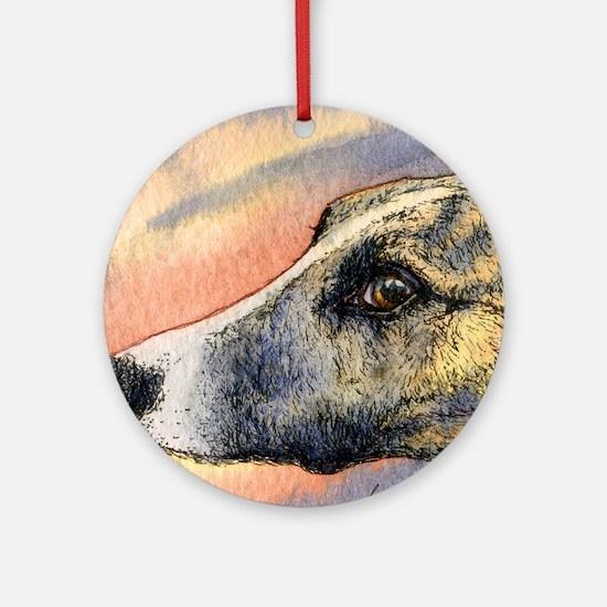 Brindle whippet greyhound dog Round Ornament