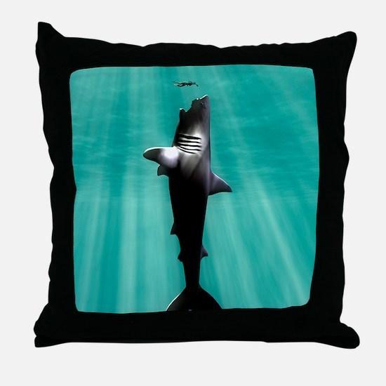 Megalodon prehistoric shark with huma Throw Pillow