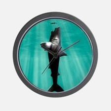 Megalodon prehistoric shark with human Wall Clock