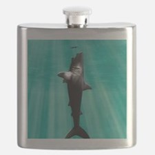 Megalodon prehistoric shark with human Flask