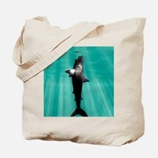Megalodon prehistoric shark with human Tote Bag