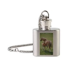 Mare feeding her young Flask Necklace