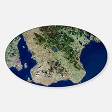 Malmo, satellite image Sticker (Oval)
