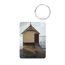 Boat shed with rainbow in  Keychains