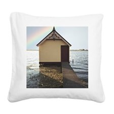 Boat shed with rainbow in sky Square Canvas Pillow