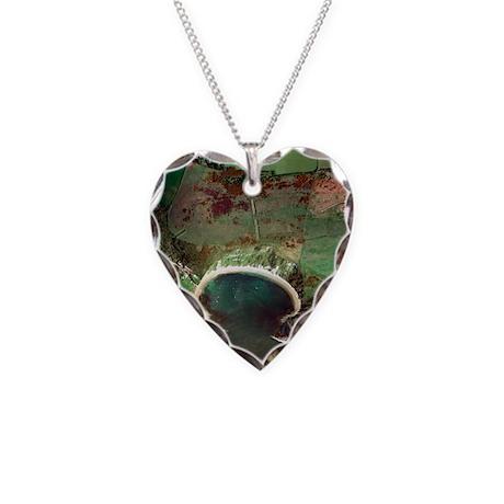 Lulworth Cove, UK, aerial ima Necklace Heart Charm