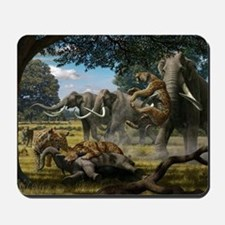 Mammoths and sabre-tooth cats, artwork Mousepad