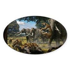 Mammoths and sabre-tooth cats, artw Decal