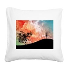 Basket On A Hill Square Canvas Pillow