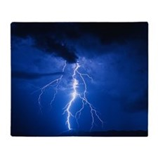 Lightning strikes mountain at night, Throw Blanket