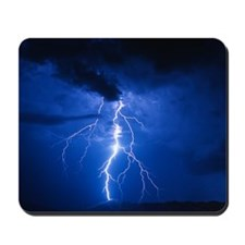 Lightning strikes mountain at night, Ari Mousepad