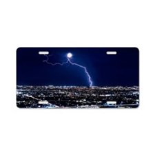 Lightning strike at night i Aluminum License Plate