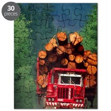 Logging truck loaded with logs Puzzle