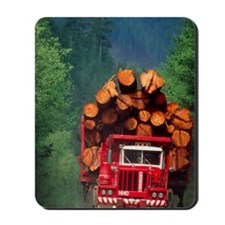 Logging truck loaded with logs Mousepad