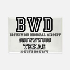 US - TEXAS - AIRPORT CODES - BWD  Rectangle Magnet