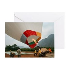 Launching a hot air balloon Greeting Card