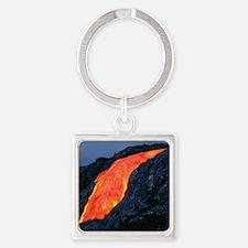 Lava flow from Kilauea volcano Square Keychain