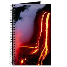 Lava flowing down cliff into the ocean Journal