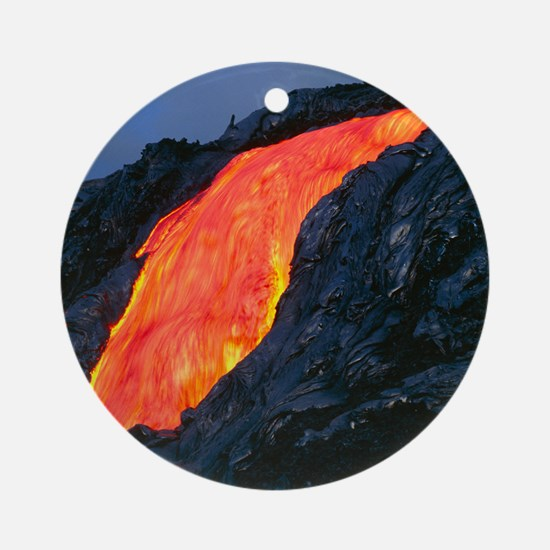 Lava flow from Kilauea volcano Round Ornament
