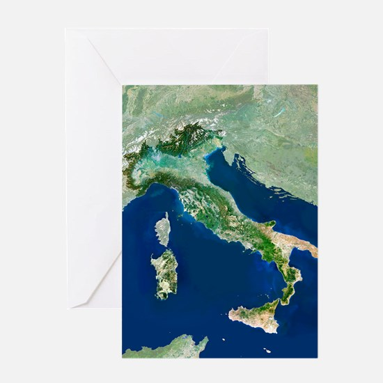 Italy, satellite image Greeting Card