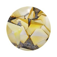 Iron pyrite crystals, SEM Round Ornament