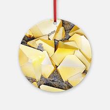 Iron pyrite crystals, SEM Round Ornament