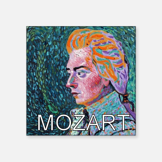 "WHIRLING MOZART Square Sticker 3"" x 3"""