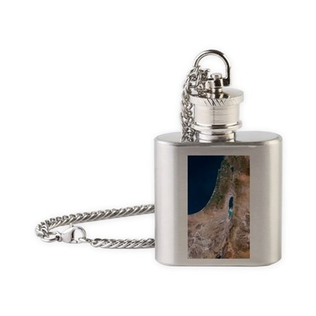 Israel, satellite image Flask Necklace