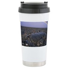 Rainbow over lava field Travel Mug