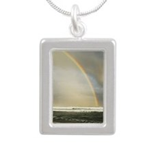 Rainbow over ocean Silver Portrait Necklace