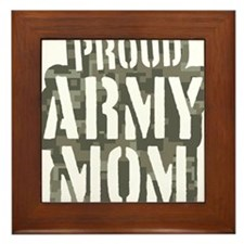 Proud Army Mom camo print Framed Tile