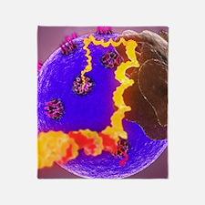 mRNA leaving the nucleus, artwork Throw Blanket