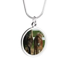 Cute Miniature Horses Silver Round Necklace