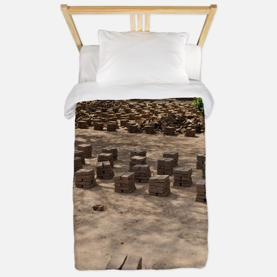 Mud bricks drying, Sudan Twin Duvet